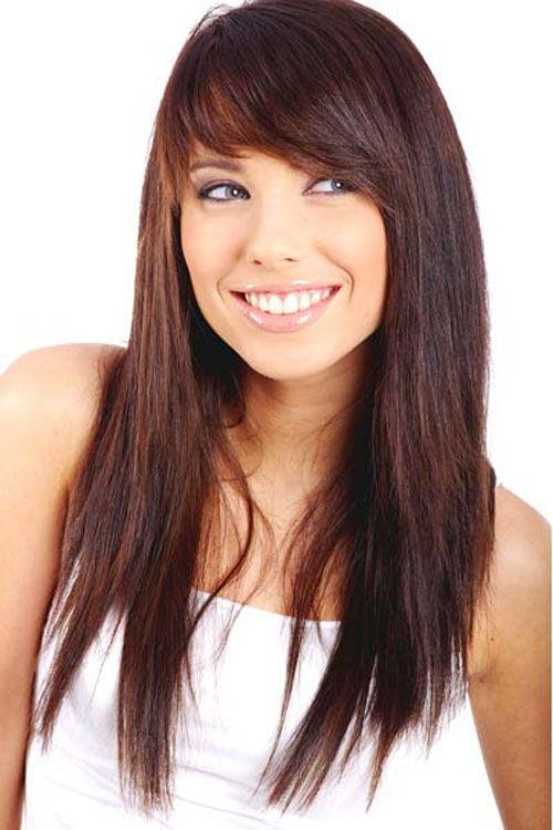 фото прически каскад с челкой на длинные волосы