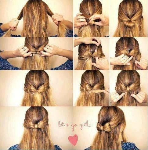 Как сделать бантики на коротких волосах 119