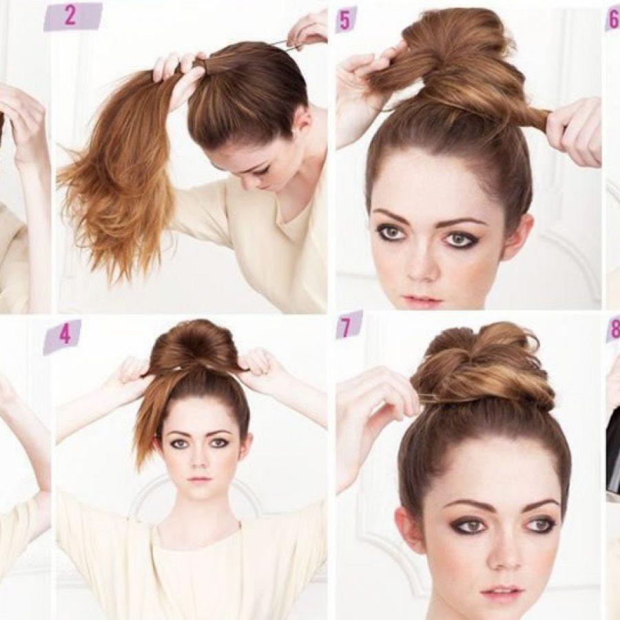 Как сделать пучок на средних волосах без бублика